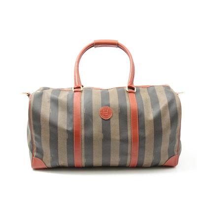 Fendi Pequin Stripe Coated Canvas Duffel Bag with Rust Orange Leather Trim