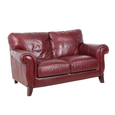 Klaussner Furniture, Maroon Leather Loveseat