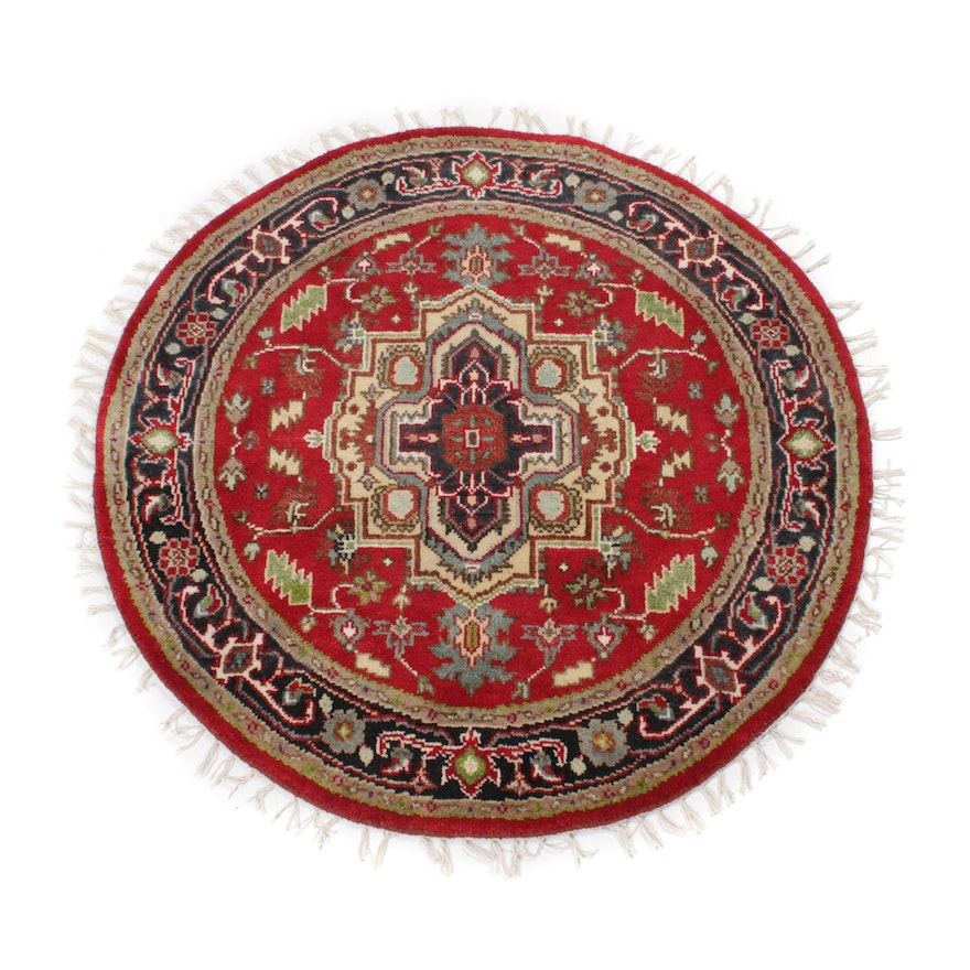 4'3 x 4'3 Hand-Knotted Indo-Persian Heriz Round Rug