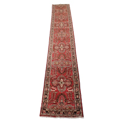 2'9 x 16'7 Hand-Knotted Persian Lilihan Runner, 1960s