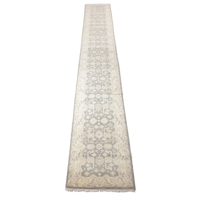 2'6 x 20'1 Hand-Knotted Indo-Turkish Oushak Runner Rug, 2010s