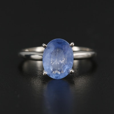 14K White Gold 2.40 CT Sapphire Solitaire Ring
