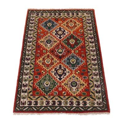 4'0 x 6'2 Hand-Knotted Indo-Caucasian Kazak Rug