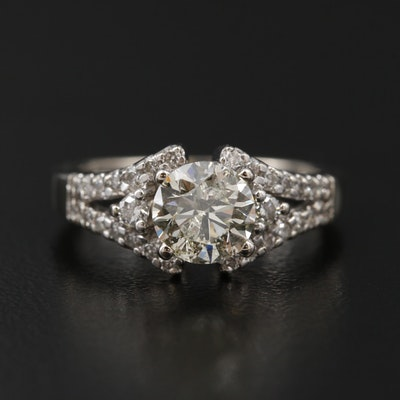 14K White Gold 1.34 CTW Diamond Ring