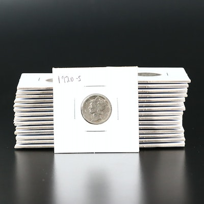 Thirty Mercury Silver Dimes, 1920 to 1929