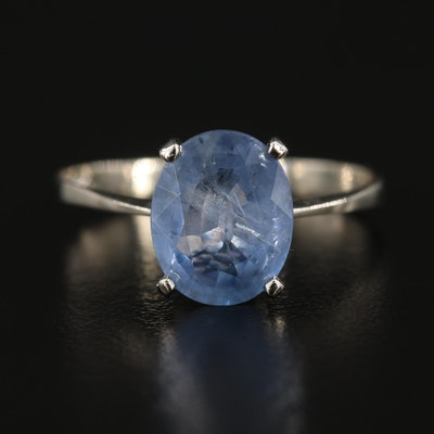 14K White Gold Blue 2.39 CT Sapphire Solitaire Ring