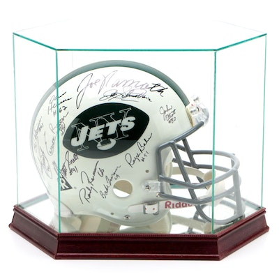 1968 New York Jets Signed Full Helmet with Case   Steiner Hologram