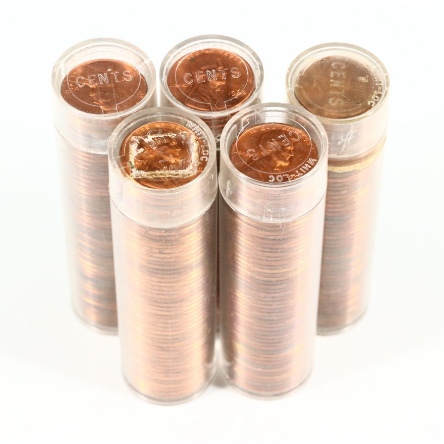 Five Rolls of High Grade Lincoln Memorial Cents From the 1960s