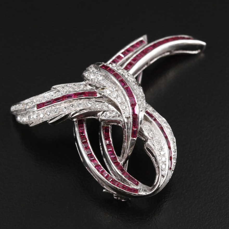 Vintage 18K White Gold Ruby and Diamond Brooch