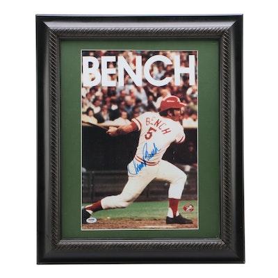 Johnny Bench Signed Larger Size Cincinnati Reds Framed Action Photo Print, PSA