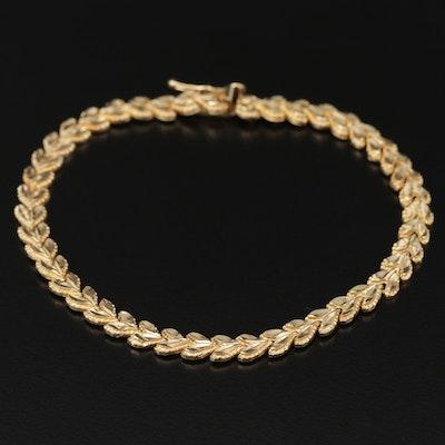 14K Fancy Link Bracelet with Diamond Cut Design