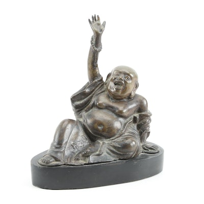 "Vietnamese Bronze ""Hotei"" Laughing Buddha Figure on Wood Base Late 20th Century"