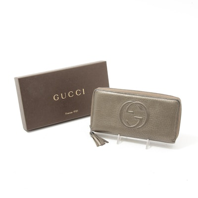 Gucci Soho Metallic Grained Leather Zip Around Wallet with Tassel