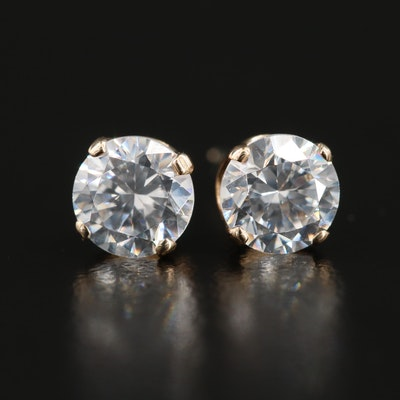 14K Yellow Gold Cubic Zirconia Solitaire Stud Earrings