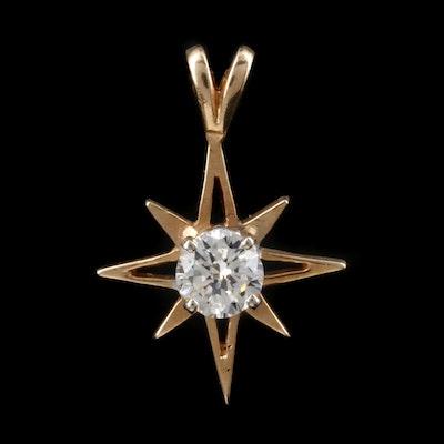 14K Yellow Gold Diamond Sunburst Pendant