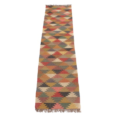 2'7 x 10'8 Handwoven Turkish Kilim Wool Runner