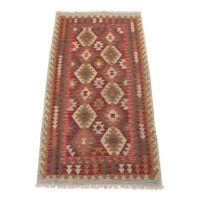 3'4 x 6'11 Handwoven Turkish Village Kilim Rug