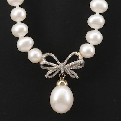 10K Pearl and Diamond Pendant Necklace