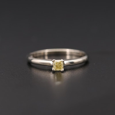 14K White Gold 0.22 CT Fancy Yellow Diamond Solitaire Ring