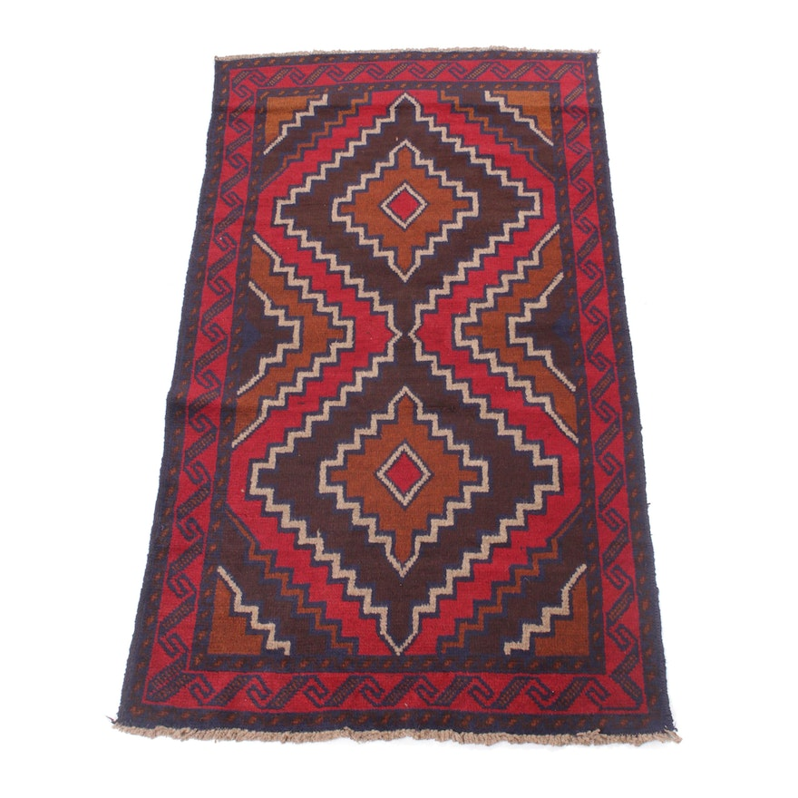 3'6 x 6'3 Hand-Knotted Afghani Baluch Rug