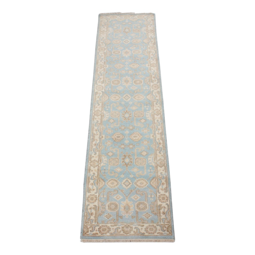 2'4 x 10'1 Hand-Knotted Indo-Turkish Oushak Runner