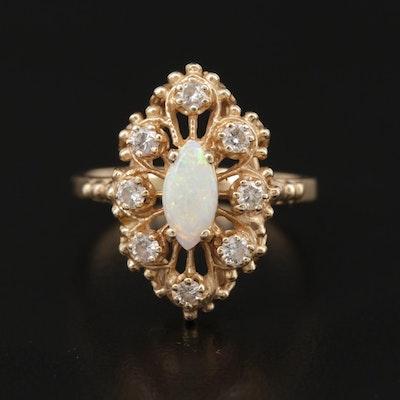 14K Gold Opal and Diamond Navette Ring