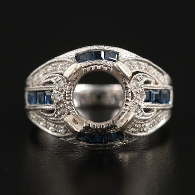 14K White Gold Diamond and Sapphire Semi-Mount Ring