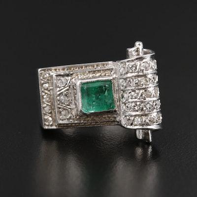 Retro 14K White Gold Emerald and Diamond Ring