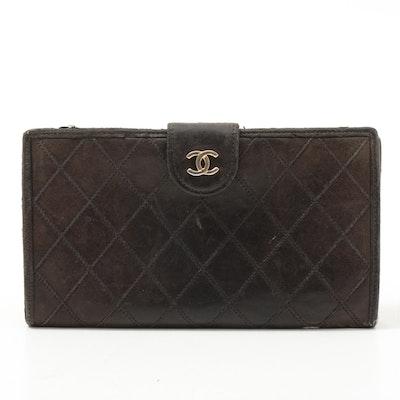 Chanel Diamond Stitch Black Lambskin Leather Wallet with CC Flap