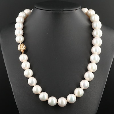Hand Knotted Pearl Strand with 14K Yellow Gold Diamond Clasp