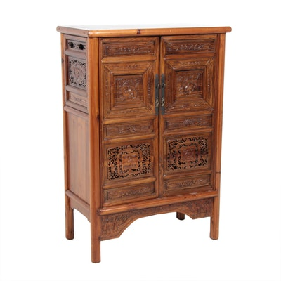 Chinese Pierced Carved Cabinet, Mid to Late 20th Century