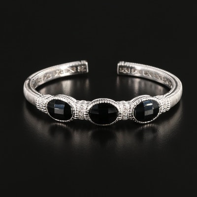 Judith Ripka 18K White Gold Black Onyx and Diamond Kick Hinged Cuff Bracelet