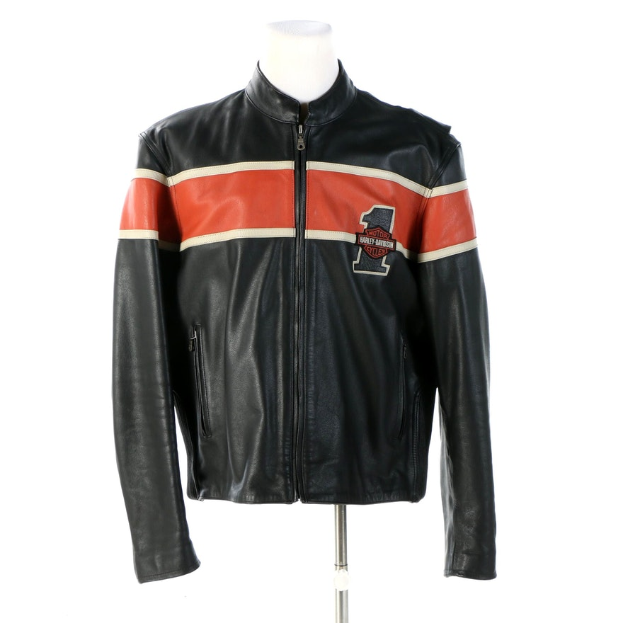 Men's Harley-Davidson Black Leather Motorcycle Jacket with Contrast Stripe