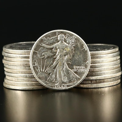 Twenty Higher Grade Walking Liberty Silver Half Dollars From the 1940s