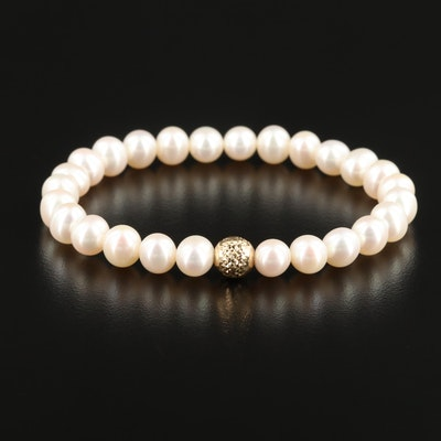 Honora Pearl Bracelet with 14K Yellow Gold Accent Bead