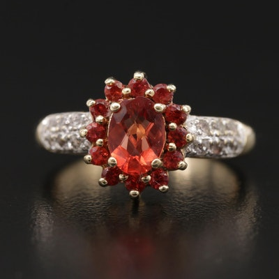 10K Yellow Gold Garnet Ring with Topaz Halo and Sapphire Lined Shoulders