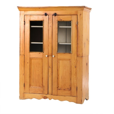 American Primitive Pine Screen-Door Cupboard, 19th Century