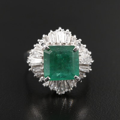 Platinum 4.39 CT Emerald and 1.07 CTW Diamond Ring