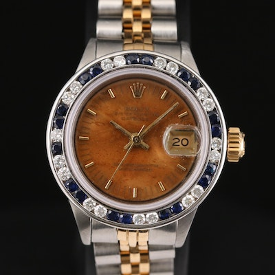 Rolex Datejust Stainless Steel and 14K Gold Diamond and Sapphire Wristwatch,1972