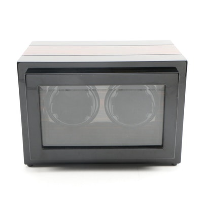 Dual Watch Winder and Case with High Gloss Two Tone Wood Finish