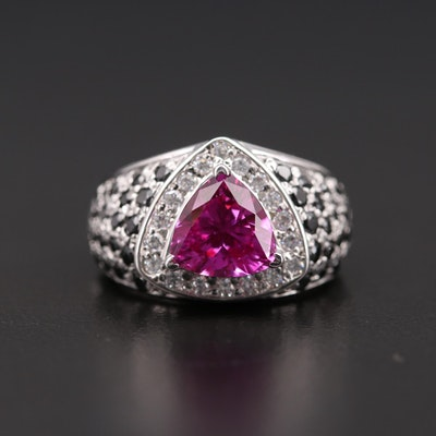 14K White Gold Ruby and Cubic Zirconia Ring