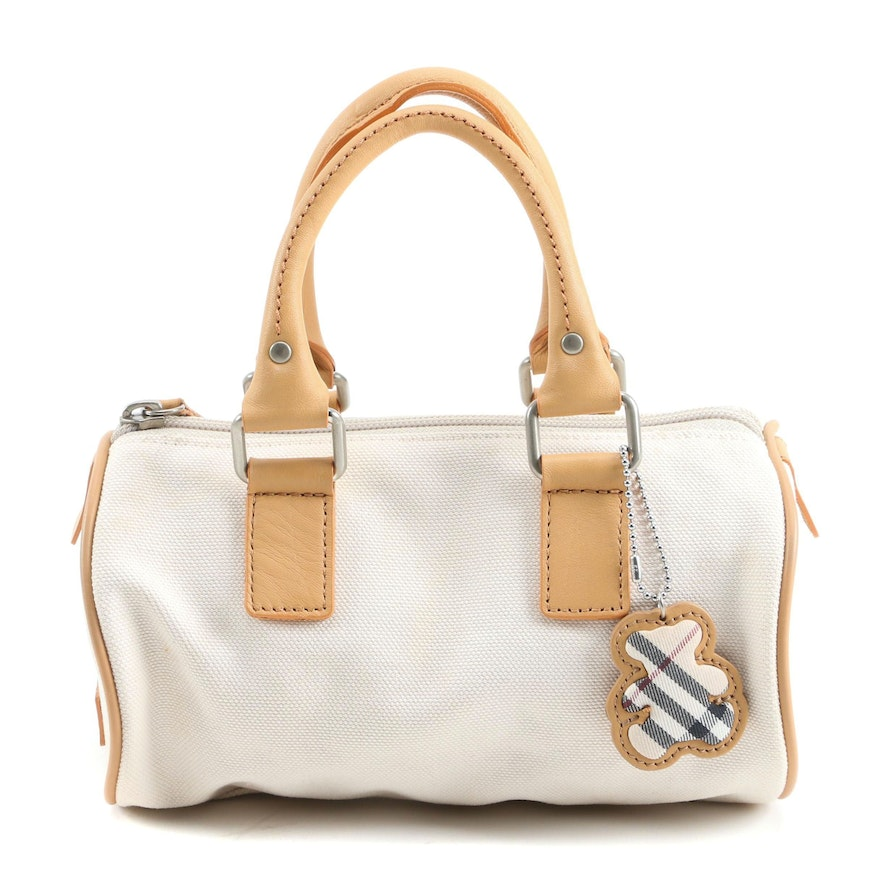 Burberry London Mini Barrel Bag in White Canvas and Tan Leather