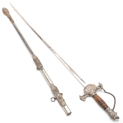 M. C. Lilly Columbus, Ohio Knights of Pythias Sword with Scabbard, Antique