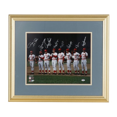 "1975 Cincinnati Reds Signed ""Starting Eight"" Framed Photo Print, PSA/DNA"