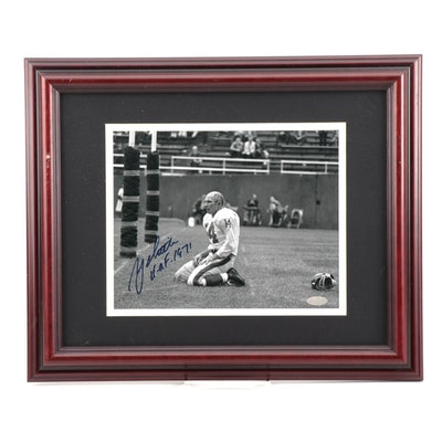 Y.A. Title Signed New York Giants NFL Football Photo Print, Steiner COA