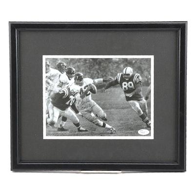 Charlie Conerly Signed New York Giants NFL Football Photo Print, JSA COA