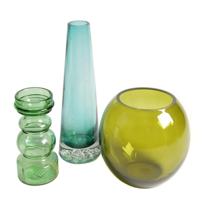 Colored Glass Vases in Green Shades, Mid to Late 20th Century