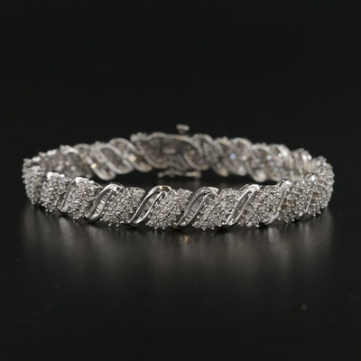 10K White Gold 4.95 CTW Diamond Bracelet