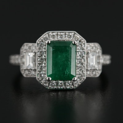 EFFY 18K White Gold 1.60 CT Emerald and Diamond Ring