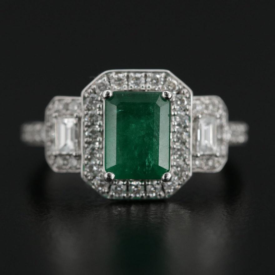 EFFY 18K White Gold 1.60 CT Emerald and Diamond Ring